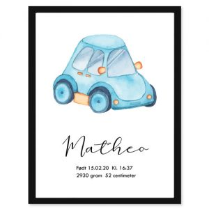 Fødselsplakat Bil - Personlige plakater for hele familie - Ztili.no