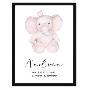 Fødselsplakat Elefant - Personlige plakater for hele familie - Ztili.no