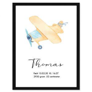 Fødselsplakat Fly - Personlige plakater for hele familie - Ztili.no
