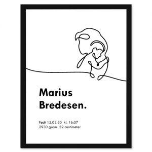 Fødselsplakat Mom Art - Personlige plakater for hele familie - Ztili.no
