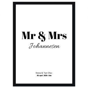 Mr & Mrs plakat - Personlige kjærlighets plakater - Ztili.no