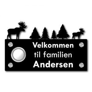 Dørskilt skogens konge - Med trådløs Honeywell ringeklokke - Ztili.no